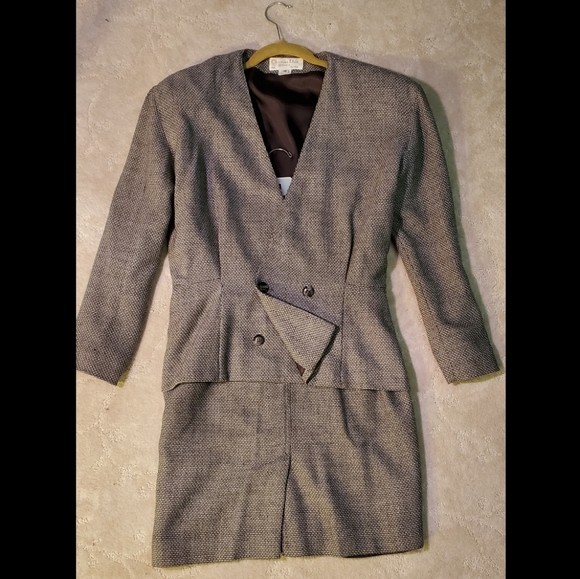VINTAGE Christian Dior 2 Piece Wool Suit